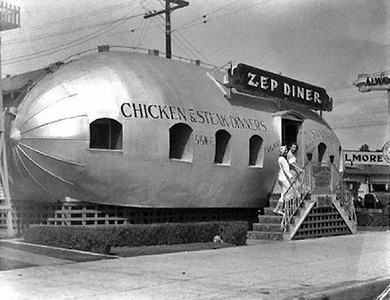 This is a great vintage foto of a forties diner in the shape of a zeppelin airship