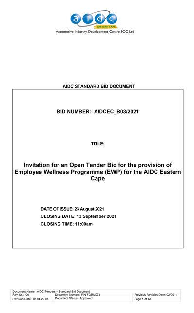 AIDC B03 2021 BID DOCUMENT PROVISION OF EMPLOYEE WELLNESS PROGRAMME 1