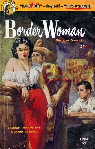 It's the vintage painted cover of a pulp novel based on the border with Mexico featuring a woman in typical rockabilly style clothes