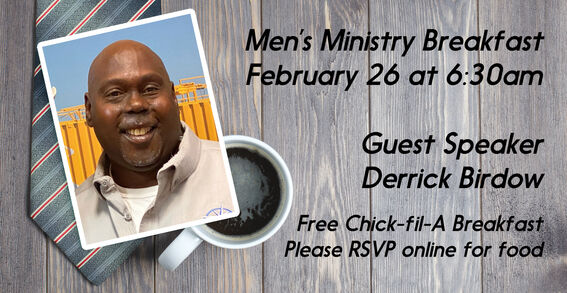 Come hear a powerful testimony from Derrick Birdow about how a prison ministry helped transform him into a man of God. His testimony will challenge each of us to move forward as Christian men with our families, in our careers, and most importantly, in our relationship with Jesus Christ.