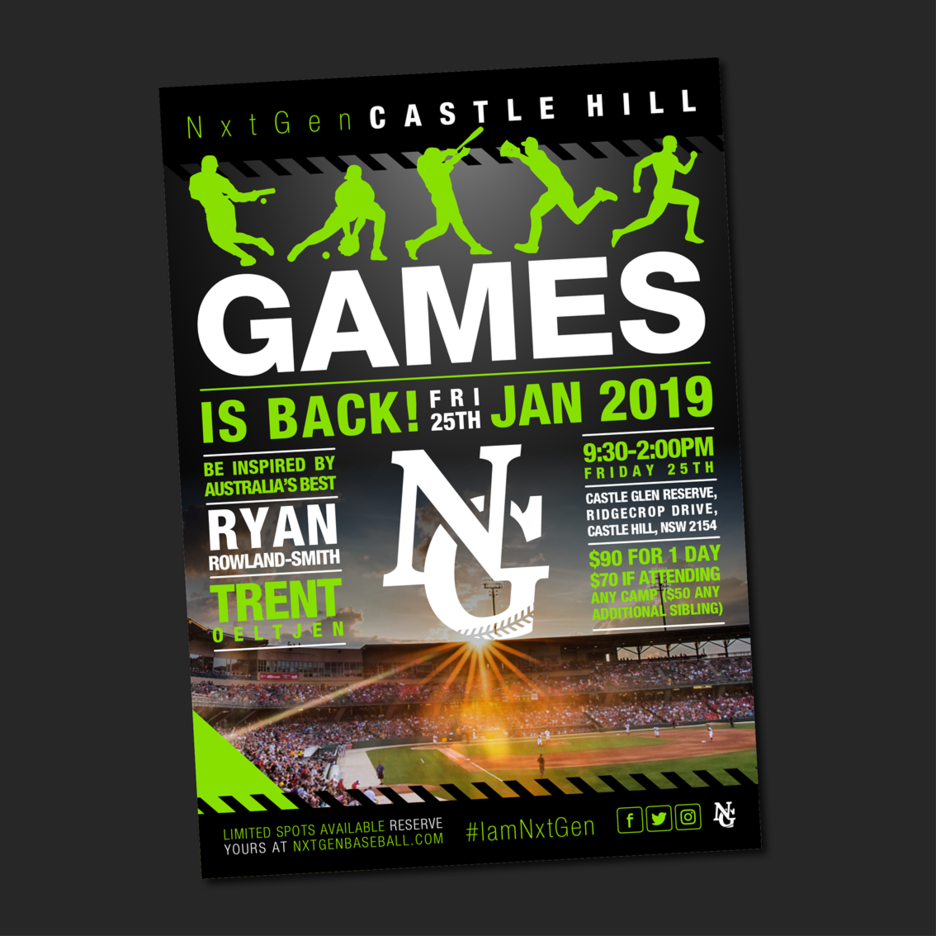 Promotional flyer Graphic Design for the NxtGen Games Baseball Training program.