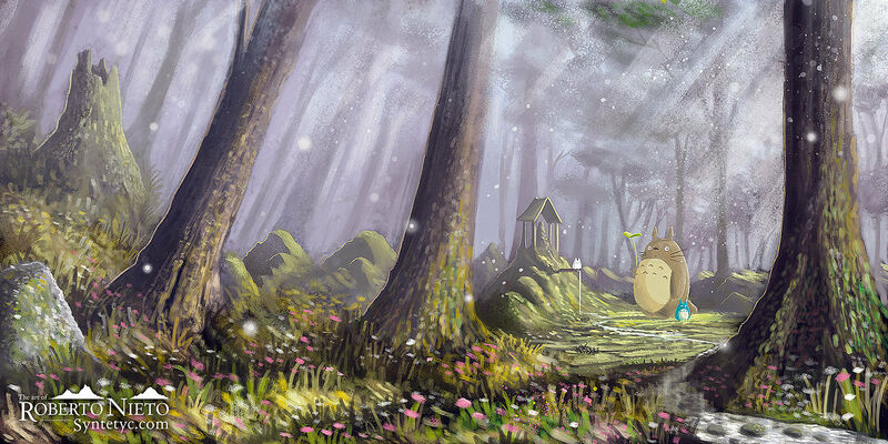 Fan Art of Totoro in the forest, surrounded by beautiful trees and vegetation. By Roberto Nieto - Syntetyc.com