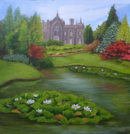 oil painting view of Sheffield Park house from the lake