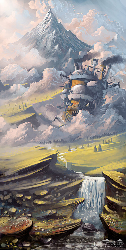 Fan Art of Howls Moving Castle through the mountains. By Roberto Nieto - Syntetyc.com