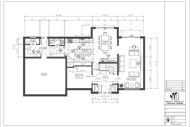 main floor plan renovation drawing including a kitchen plan, mudroom plan, bathroom plan, and furniture placement space planning
