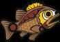 Proprietary stylized Coast Salish fish.