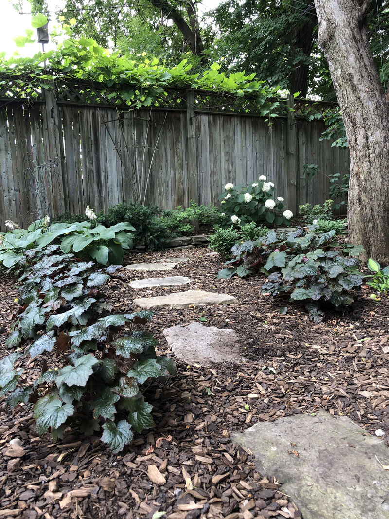 natural stepping stone pathway through redesigned shade garden