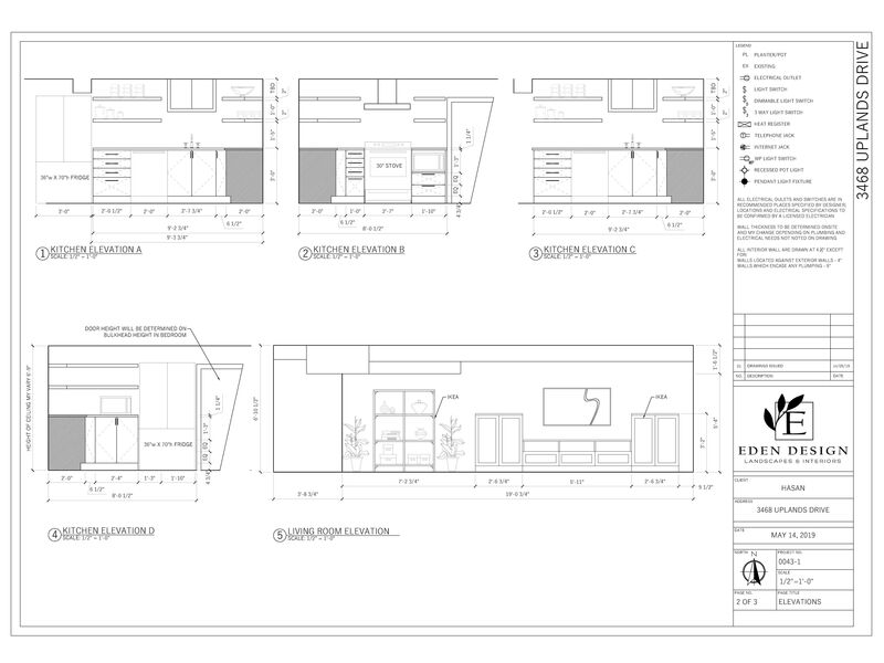 elevation AutoCAD drawing of basement renovations