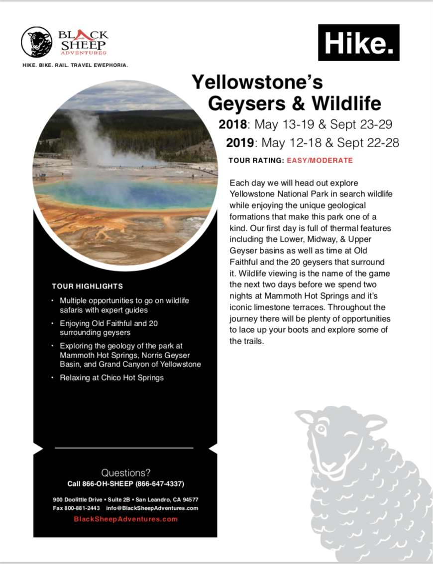 Yellowstone National Park hiking tour itinerary