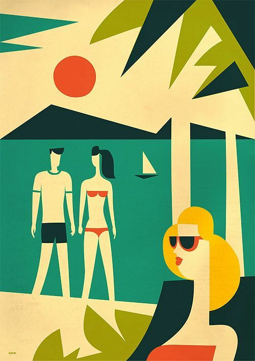 This is a vintage graphic image from the 60's showing a beach scene with palm trees