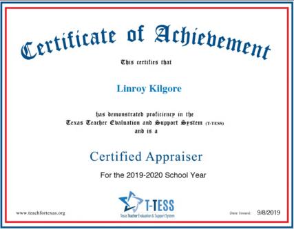 Linroy Kilgore 2019 2020 T TESS