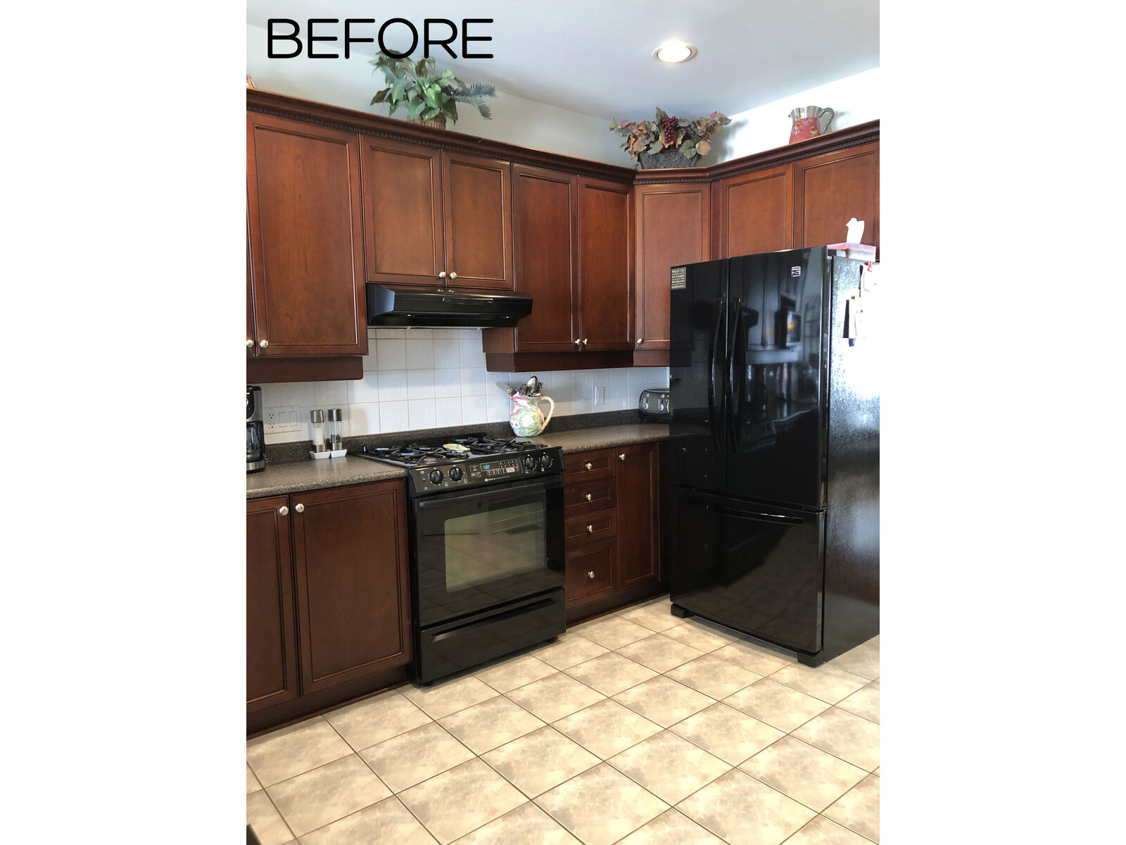 large kitchen renovation before and after photos with two tone cabinetry, quartz counter top and taupe design accents