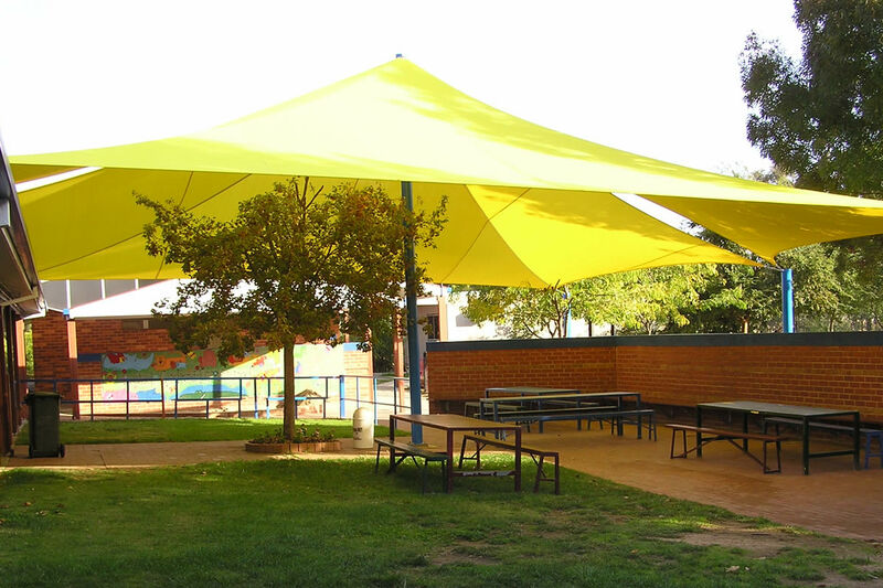 shade sails were erected in March 2004 outside the Kinder / Year 1 courtyard.