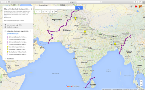 This is a miniature image version of the larger Google supported map of the Indian sub-Continent as available inside AsiaReport.com