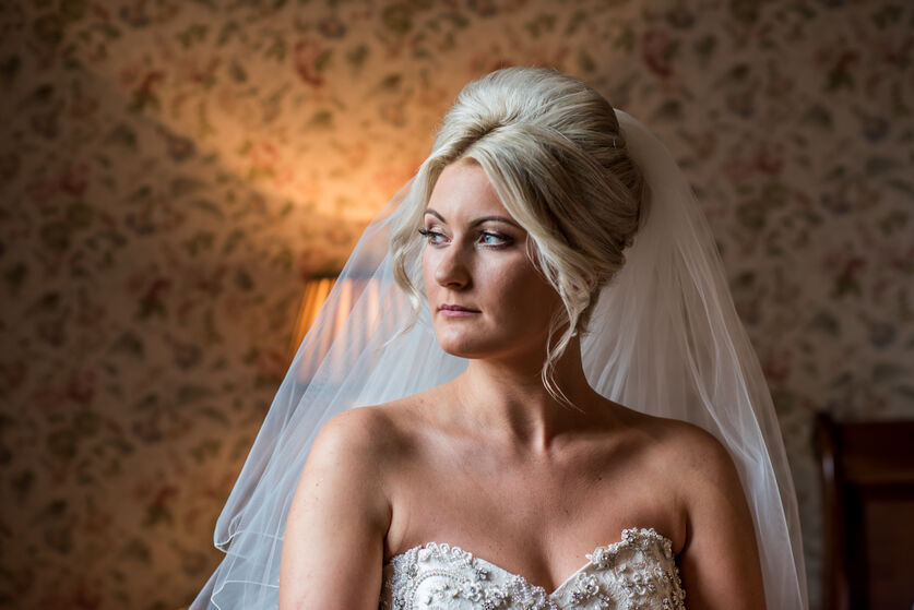 Miskin Manor wedding photography of Bride during bridal preperations