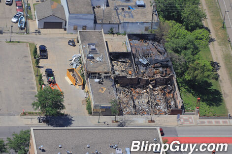 Aerial photo showing a burned building following the death of George Floyd in Minneapolis.