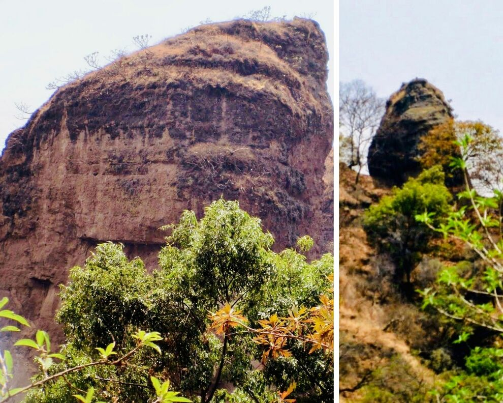 Two tall spires of volcanic built rock with accompanying trees and shrubs.