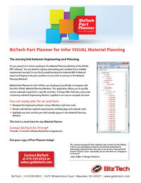 BizTech Part Planner for Infor VISUAL Material Planning Brochure