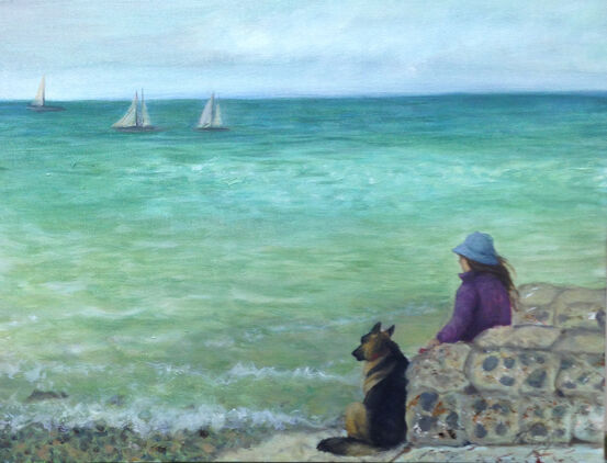 oil painting of lady and dog contemplating the sea
