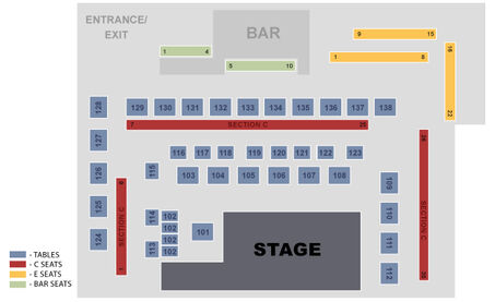 Charles Playhouse Second Stage Seating Chart with Stage, Tables and Bar Seats