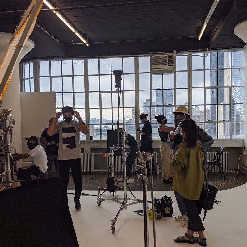 Crew doing a fashion shoot at Canoe Studios, N Y.