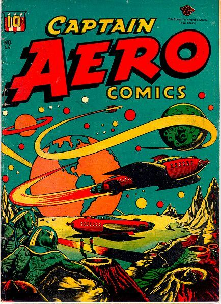 This is the front cover of a Space Age comic from the late fifties in a graphic pop art style