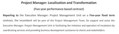 Project Manager   Localisation and Transformationt