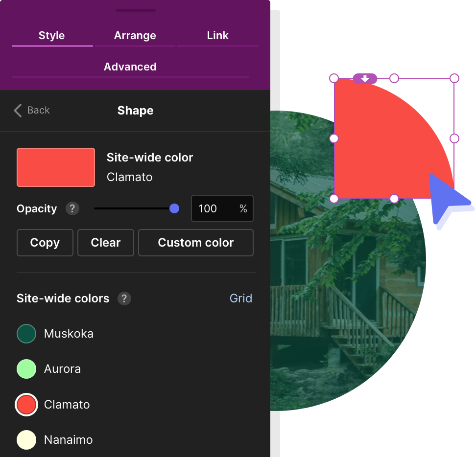 Illustration demonstrating the application of site-wide colors to objects in Pagecloud