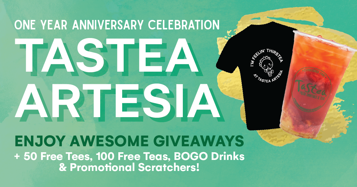 Join us for Tastea Artesia' One year anniversary celebration only on 12/14!