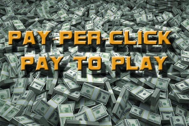 Pay per click graphic. Grey money and orange lettering depicting PPC in ottawa