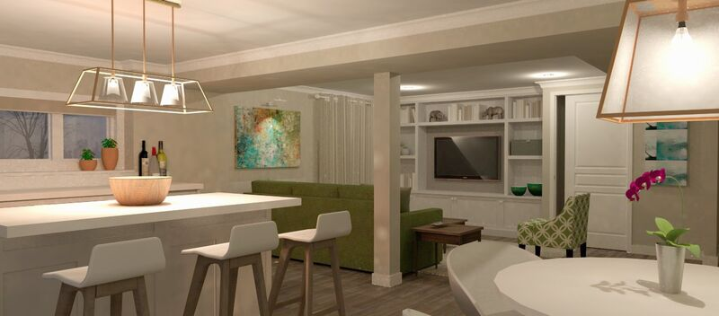 open concept basement apartment reno 3D with kitchen, dining and living room