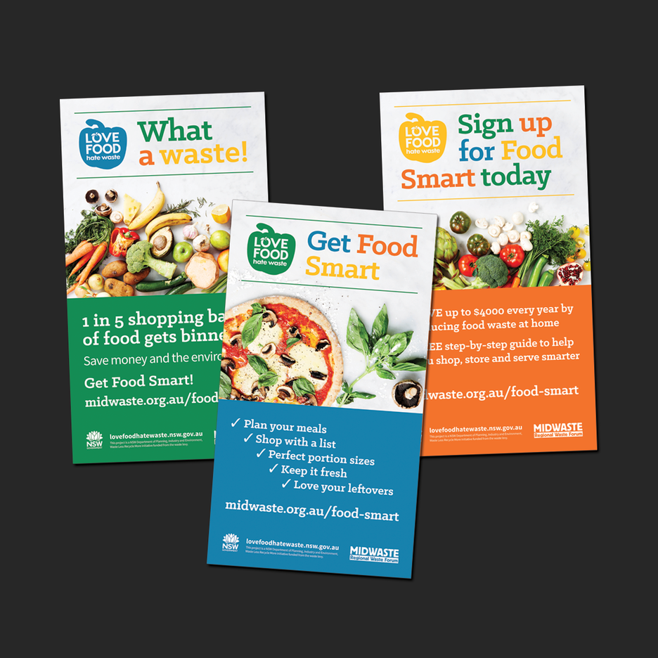 Point of Sale Design for the Food Smart Program a NSW Department of Planning, Industry and Environment, Waste Less Recycle More initiative funded from the waste levy. Digital Billboard Design, Shopping Centre TV Design, Digital Display Design.