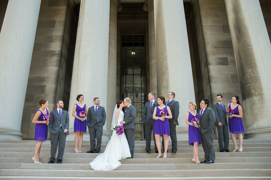 Brida and Groom with bridal party, at the columns outside Mellon Institute in Oakland PA.