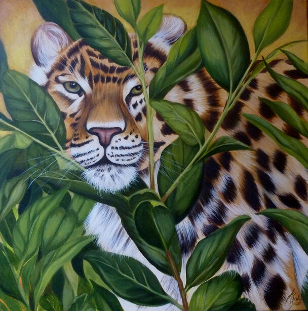 Oil painting of  Leopard in jungle