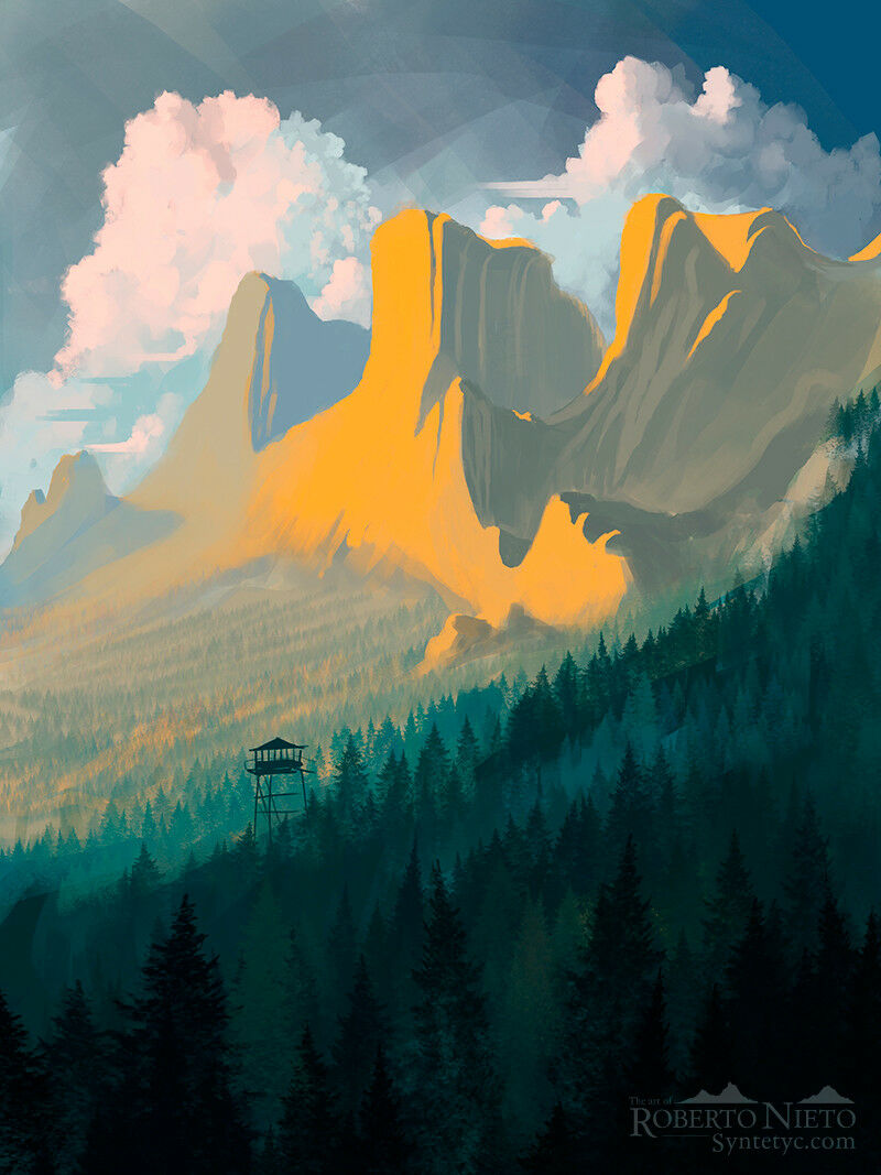 Illustratioin of a majestic mountains over the big forest. By Roberto Nieto - Syntetyc.com