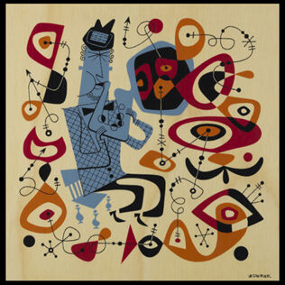 this is the cover of a vinyl album of hot music from the fifties done in the line jazz style with Miro as an influence