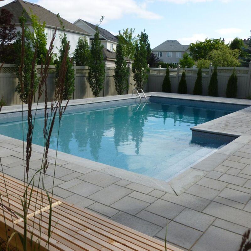 L-shaped swimming pool