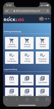 Hier wird das Lagerverwaltungssystem auf dem mobil Client dargestellt