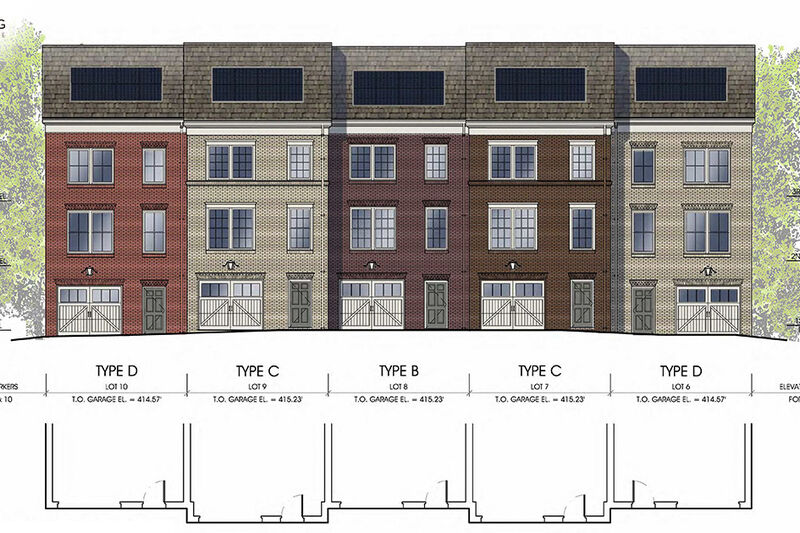 Architectural rendering of the south view of proposed units 6-10. Three styles of homes shown, each with solar panels depicted on each unit's roof.