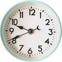Tourquoise-blue clock that accentuates the commitment to maximizing the time of participants in workshops.