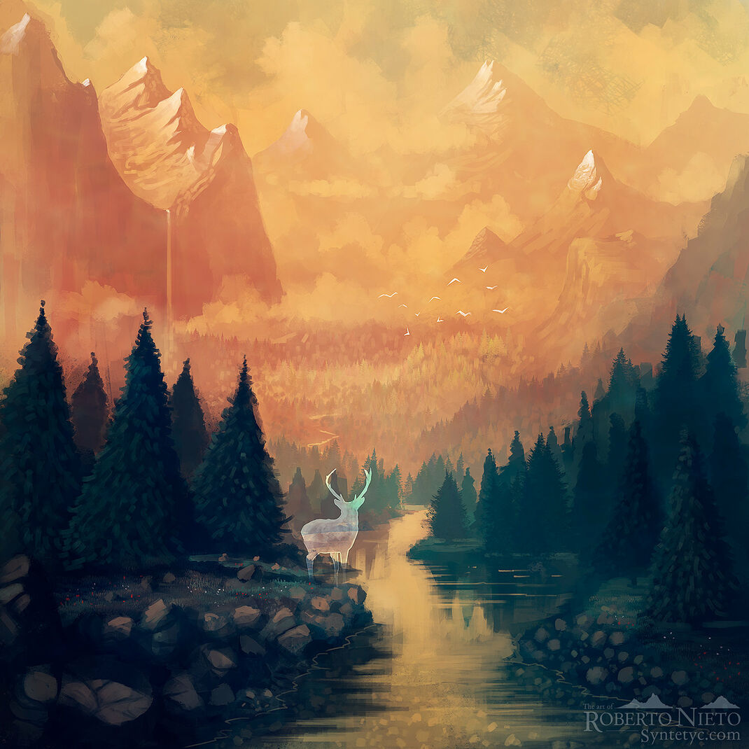 Illustration of a majestic mountains in the distantce, with a spirit in the foreground close to a beautiful river. By Roberto Nieto - Syntetyc.com
