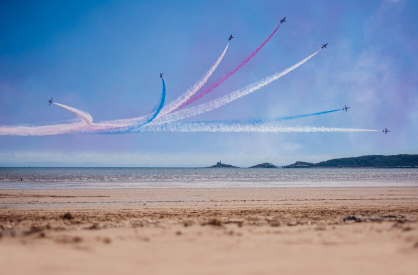 Red arrows over Swansea bay