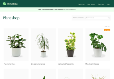 Screen shot of an online plant store created with Pagecloud