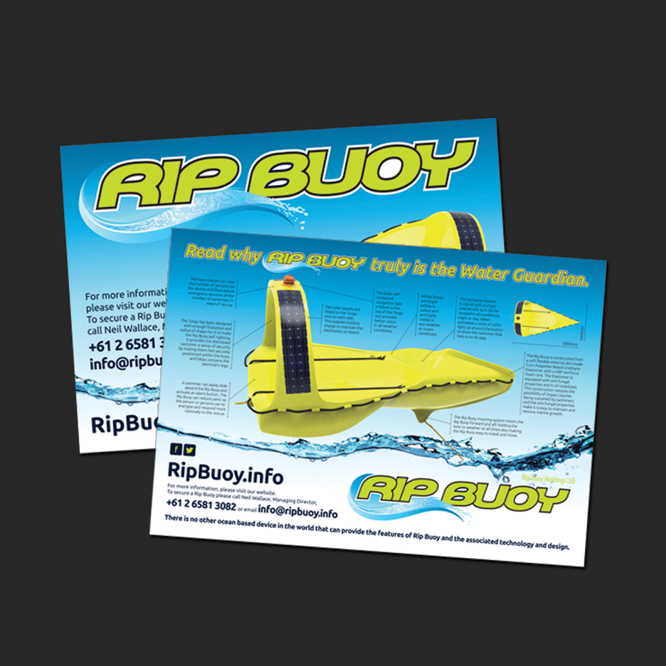 Point of Sale Design for the Rip Buoy Promotional poster. A2 Poster Design, A3 Poster Design.
