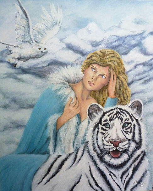 Acrylic painting of mountains, white tiger and lady with owl