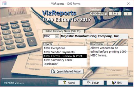 Biztech Vizreports 1099 For Infor Visual