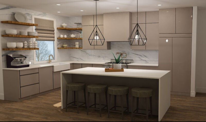 Modern taupe kitchen with brass fixtures and floating wood shelves flanking large farmhouse sink. White quartz waterfall counter top island
