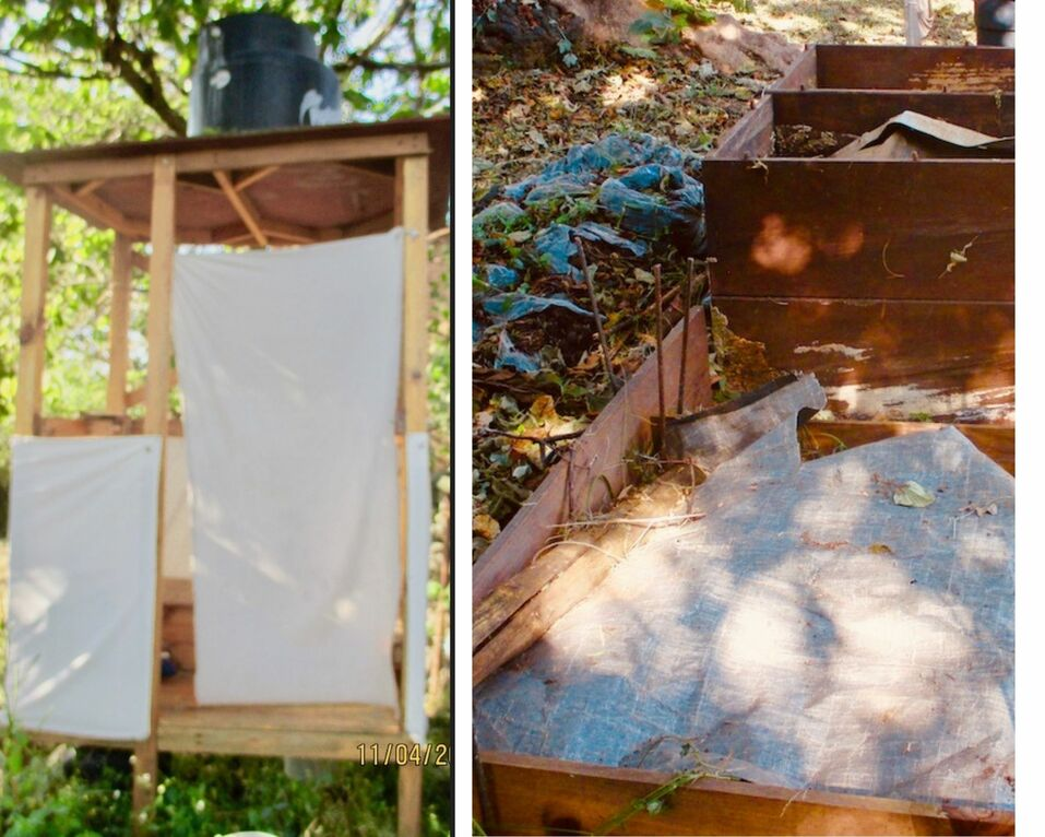 Left photo a wood frame with fabric doors. Right photo a section of ground surrounded by planks making a bin with covering of plastic
