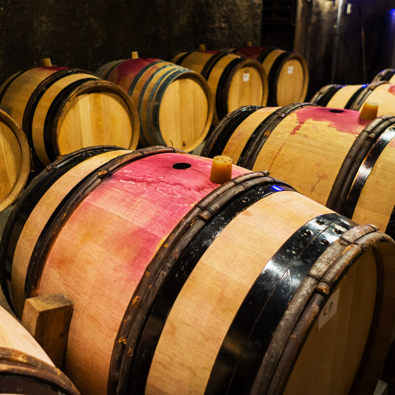 Used and freshly emptied Red Wine Casks