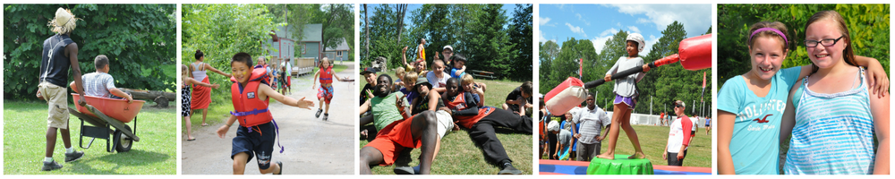 Wheelbarrow, relay race, children and youth, sleepaway camp, mink lake.